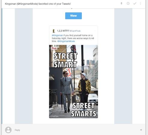 Kingsman 50 SC Kingsman Tweet (WTF Watch The Film Saint Pauly)