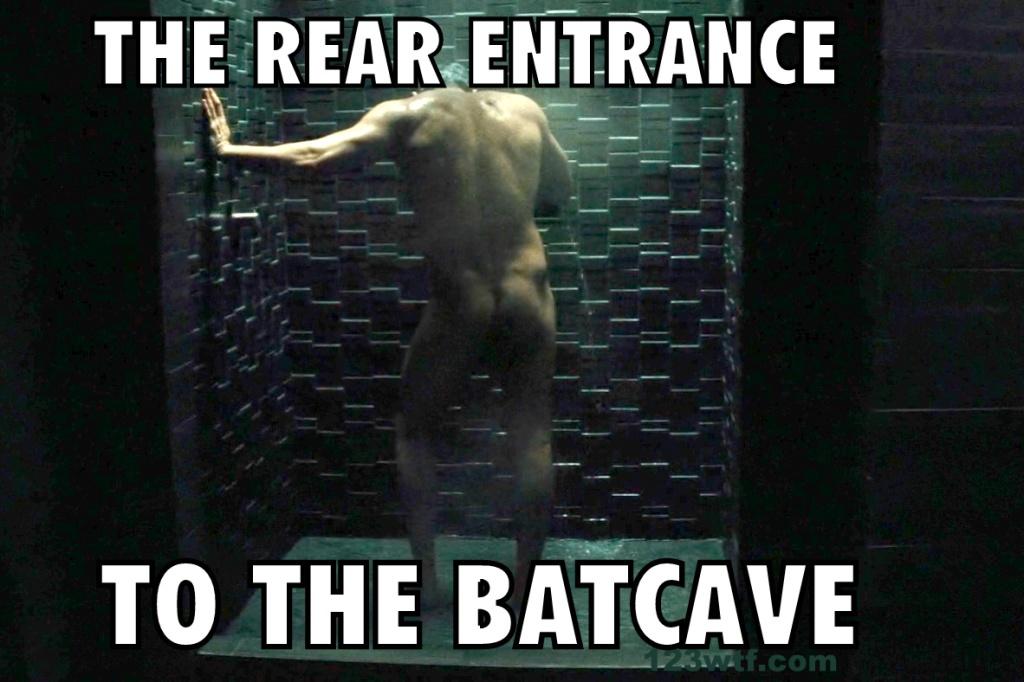 Batman v Superman 93 meme Rear entrance to the Bat cave WTF Watch The Film Saint Pauly