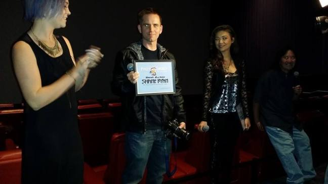 WTFDTS Shane Ryan 01 Best Actor, with Cyborg director Albert Pyun, and actors Tommie Vegas and Brittany Bochart 23WTF Saitn Pauly Watch The Film